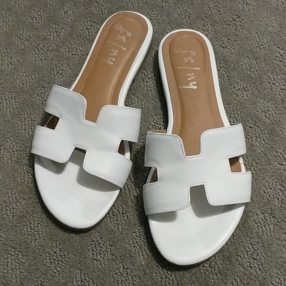 e4698bf98d2 French Sole NY Shoes - French Sole NY Alibi White Leather Slides White 8